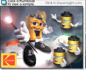 Click to view a sample of the 3D character designs of Flip and Snapshot for the Kodak Creation Station.