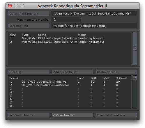 Network Rendering panel ready  for batch render