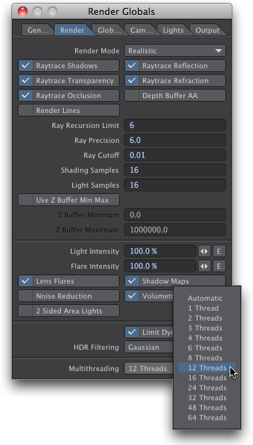 Multithreading Setting on Render Options panel