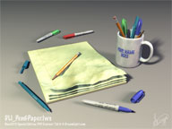 Pen&Paper.lws - Fully Textured and Lighted Lamp LightWave 3D Object and Scene File