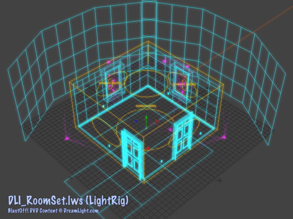 DLI_RoomSet.lws - Room Set LightWave Scene File with Spinning Light Rig Wireframe Quarter