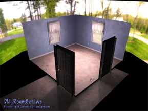 DLI_RoomSet.lws - Room Set LightWave Scene File with Spinning Light Rig Quarter