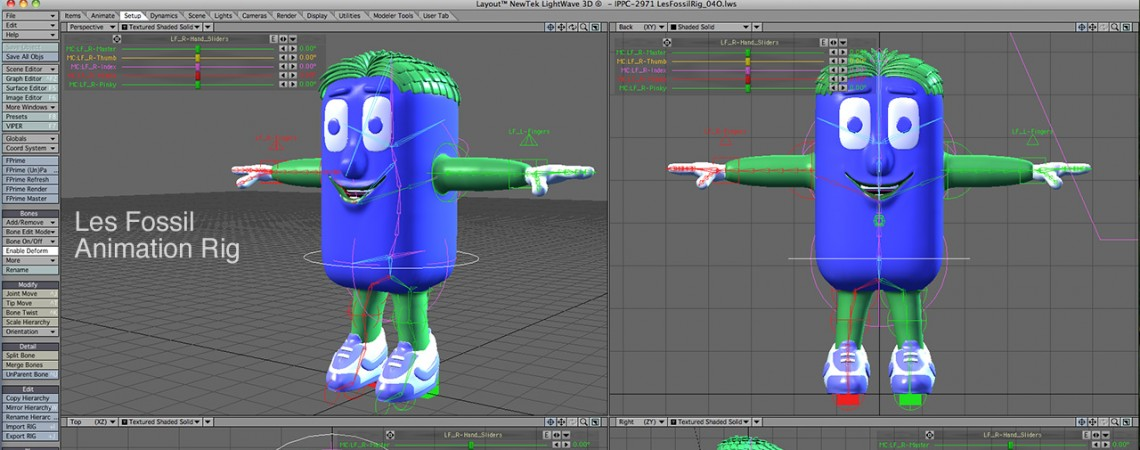 3D Character Animation Rig for Les Fossil in LightWave 3D